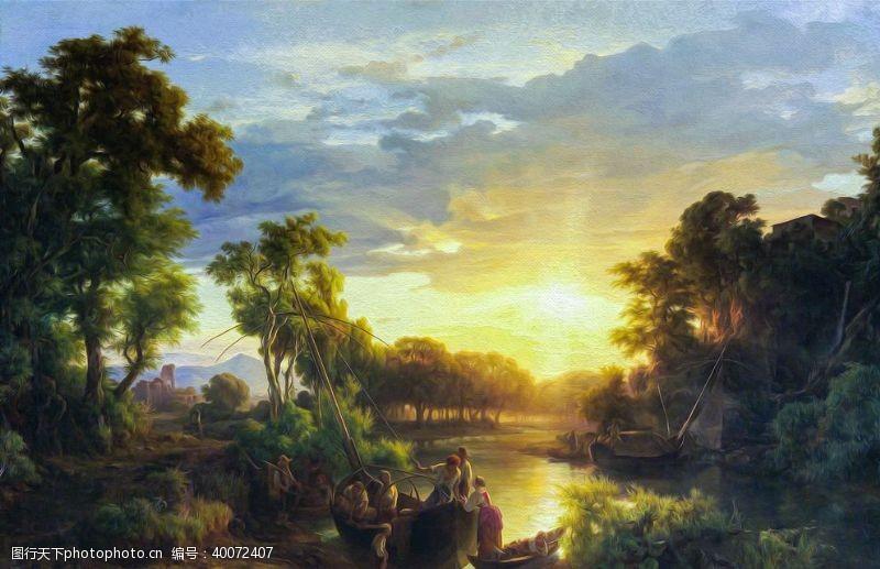 油画艺术渔图片