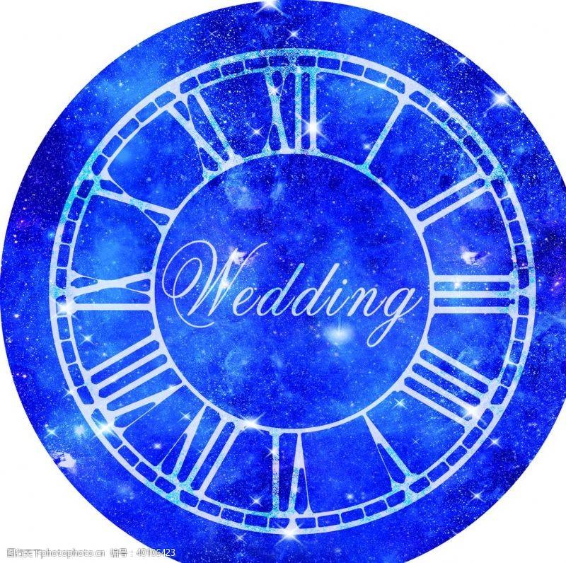 钟表婚礼背景婚礼地贴星空背景图片