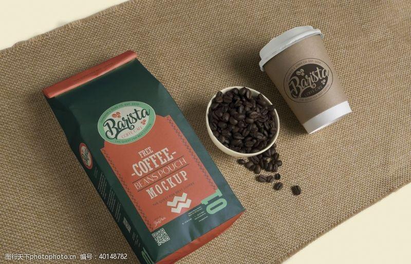 品牌咖啡咖啡豆包装样机图片
