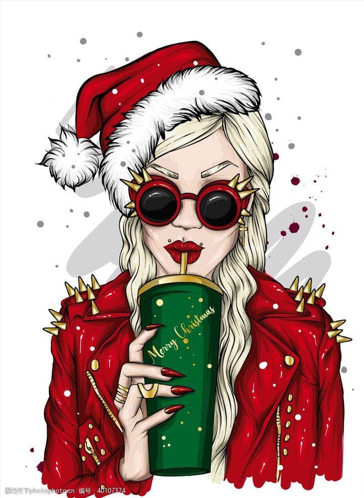 墨镜圣诞节女人图片