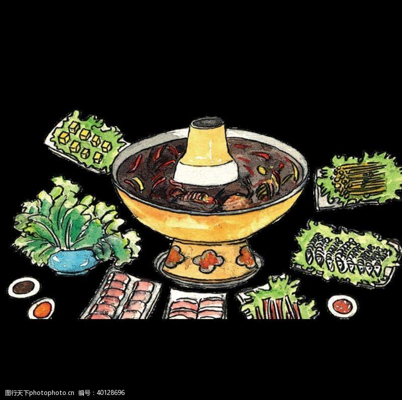 手绘蔬菜手绘火锅图片