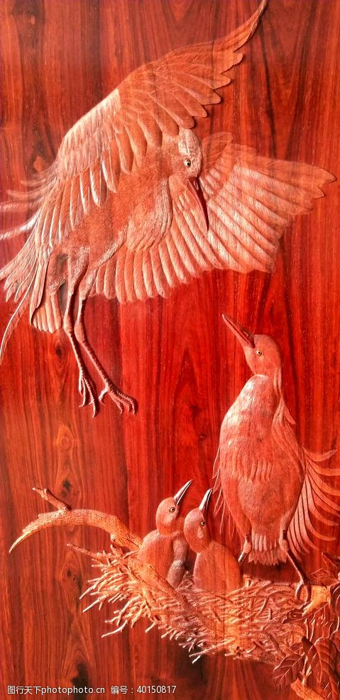 紫檀丝翎檀雕翠鸟图片
