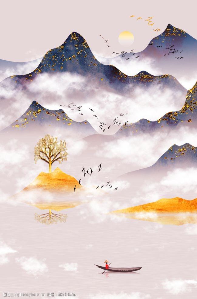 玄关山水图片