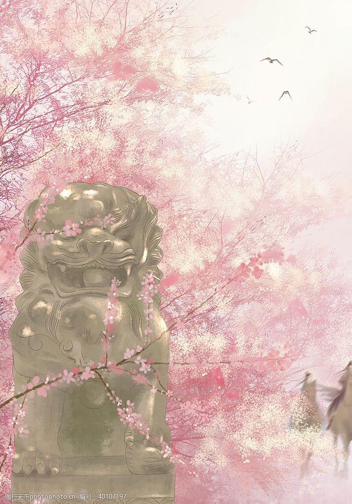 梦境中国风大气插画场景图片
