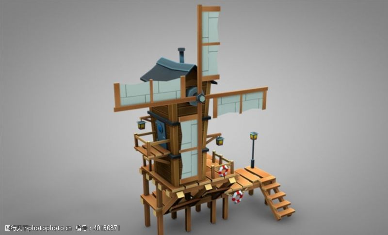 C4D模型风车水车图片