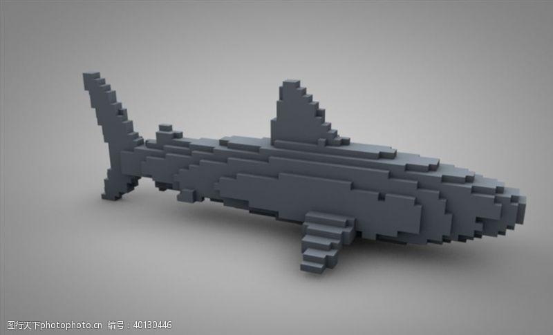 C4D模型鲸鱼积木像素图片
