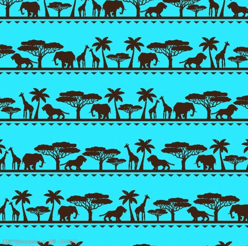树木剪影非洲动物矢量图图片