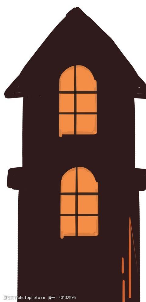 卡通房子夜色灯游戏图片