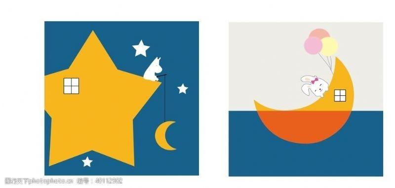 卡通月亮卡通装饰画图片