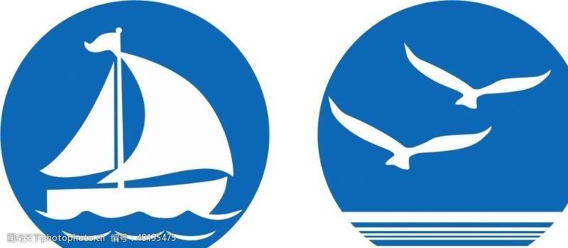 海鸥蓝色图标矢量素材图片
