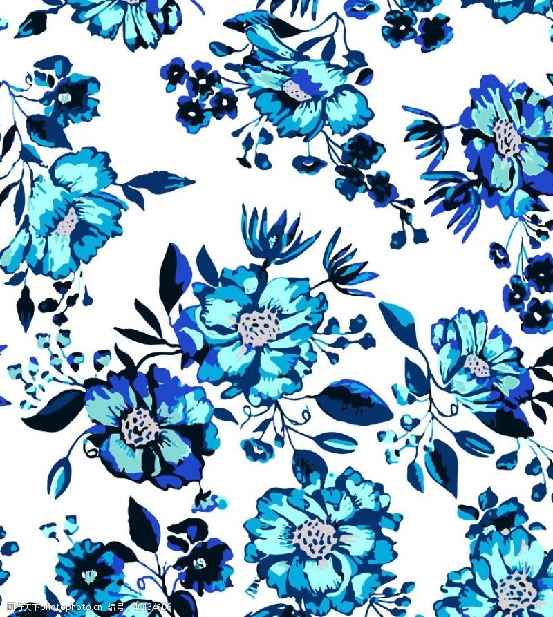 矢量花朵色块蓝色花朵图片