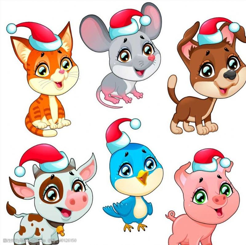 小猪圣诞节动物图片