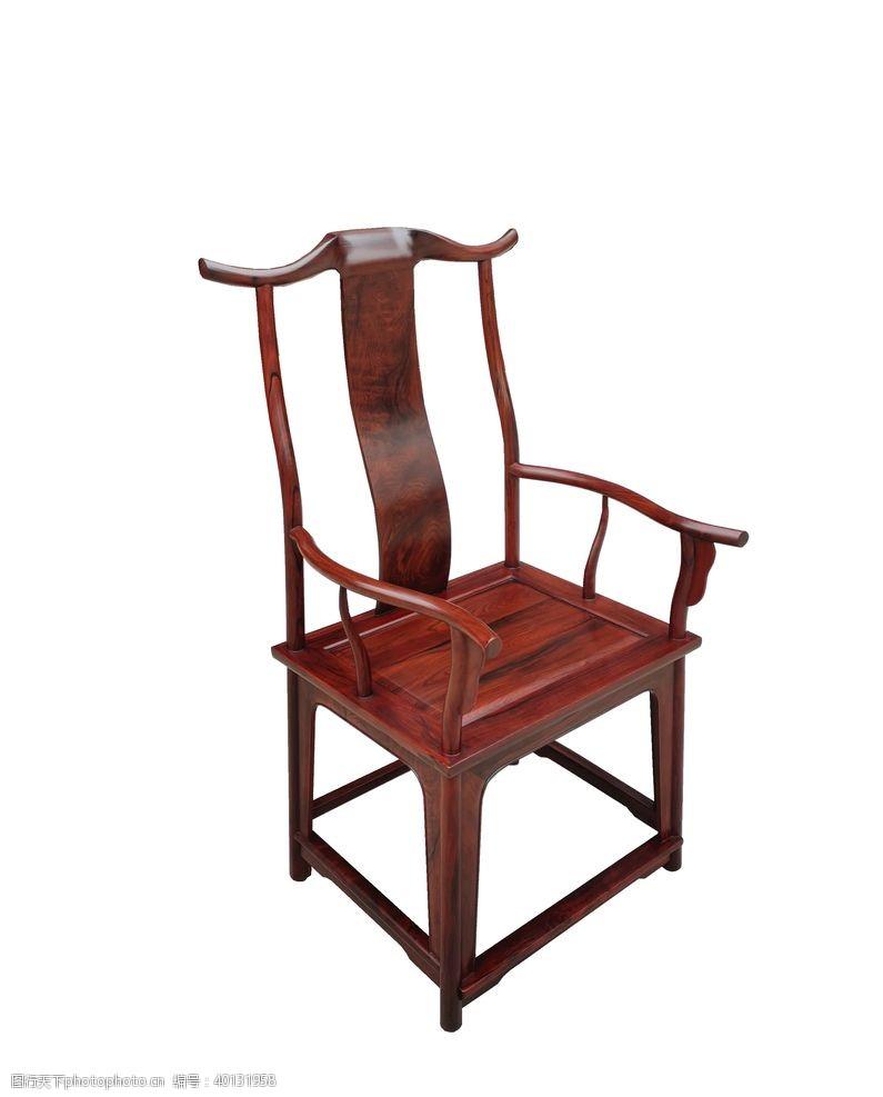 紫檀酸枝四出头官帽椅侧面图片
