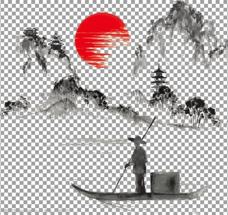 小舟透明底山水画图片