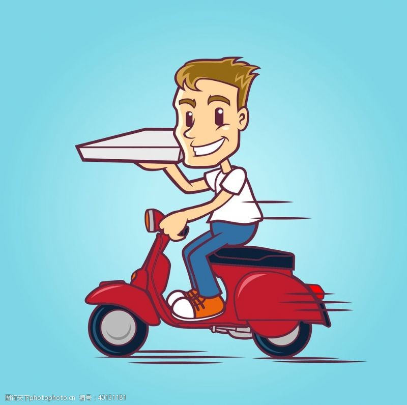 动画设计外卖骑手送餐快递员图片