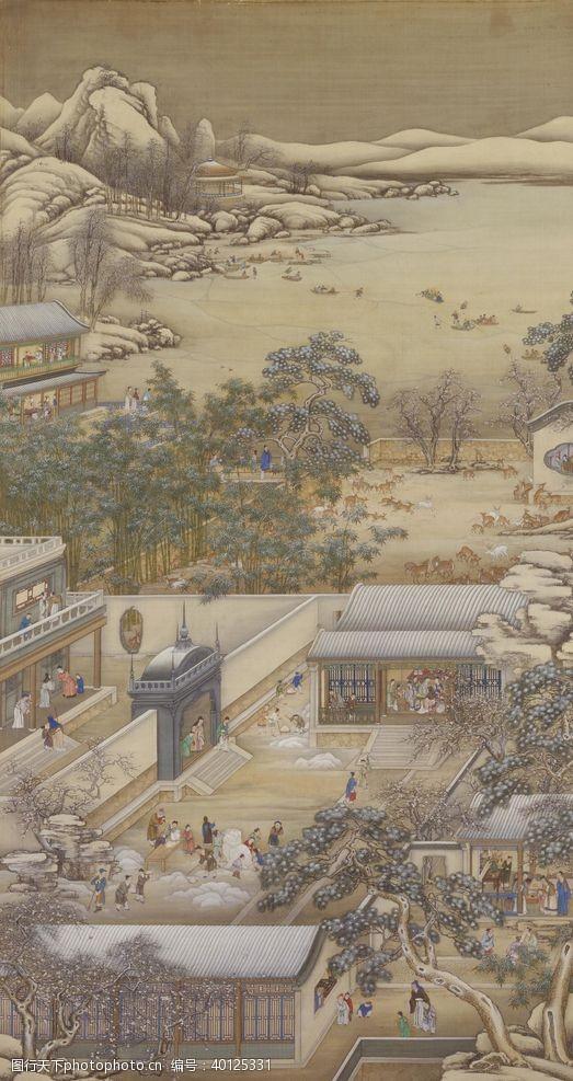 八月雍正十二月行乐图腊梅赏雪图片