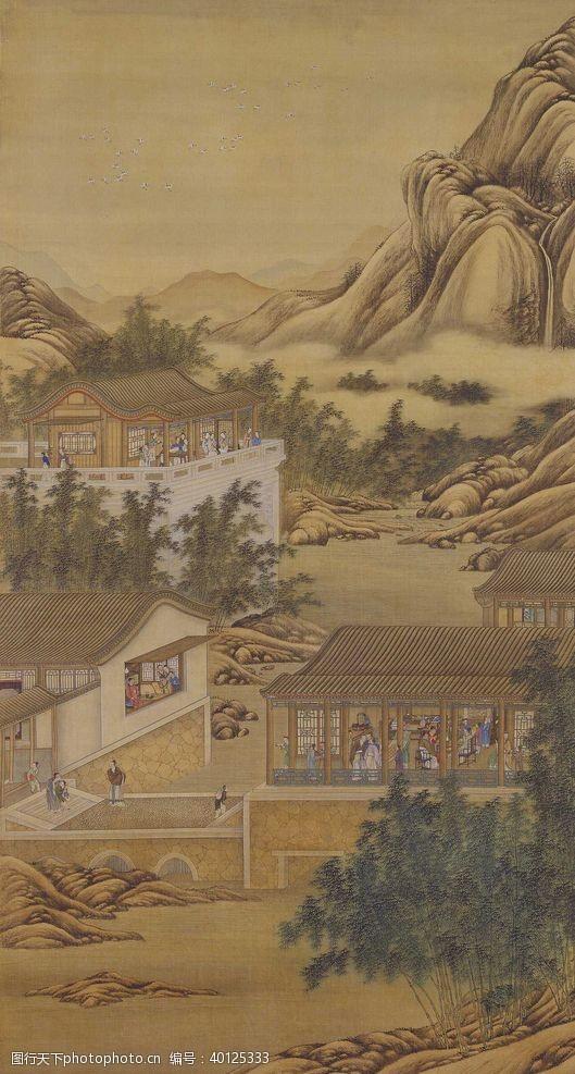 八月雍正十二月行乐图十月画像图片