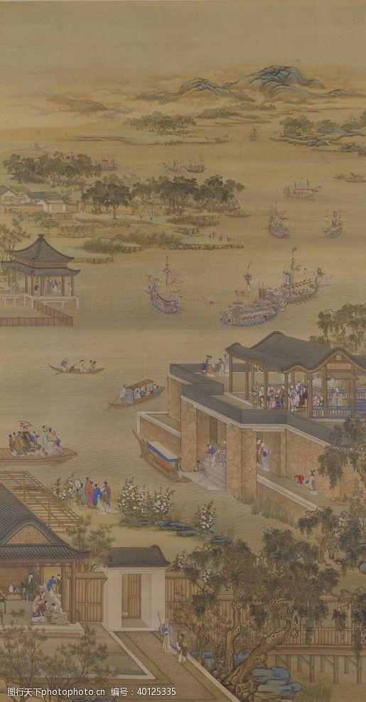 八月雍正十二月行乐图五月竞舟图片