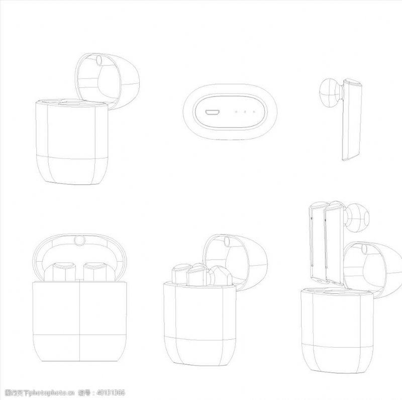 耳机矢量结构线稿图片
