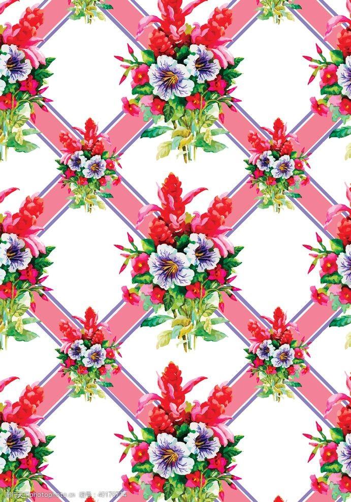 卡通线条格子花朵图片