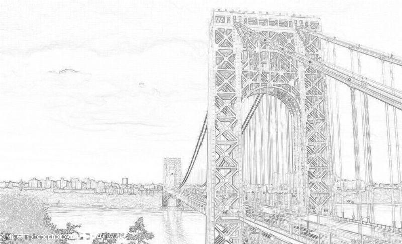 美国金门大桥线性稿图片