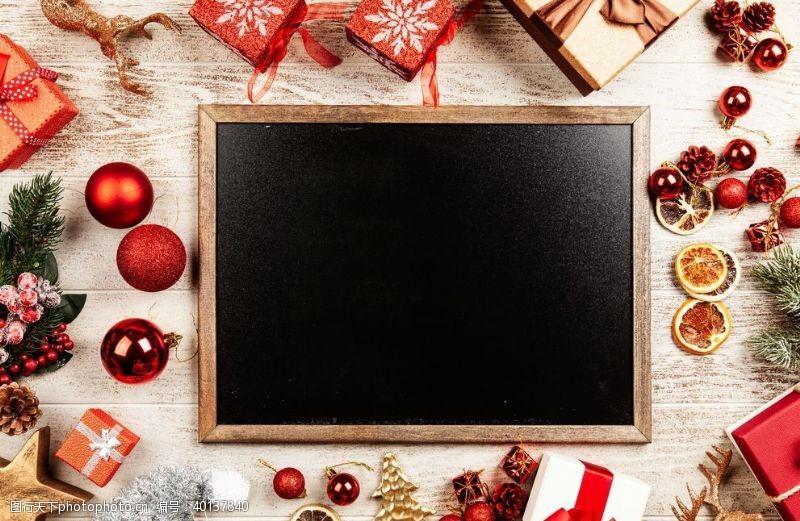 圣诞饰品圣诞黑板框图片