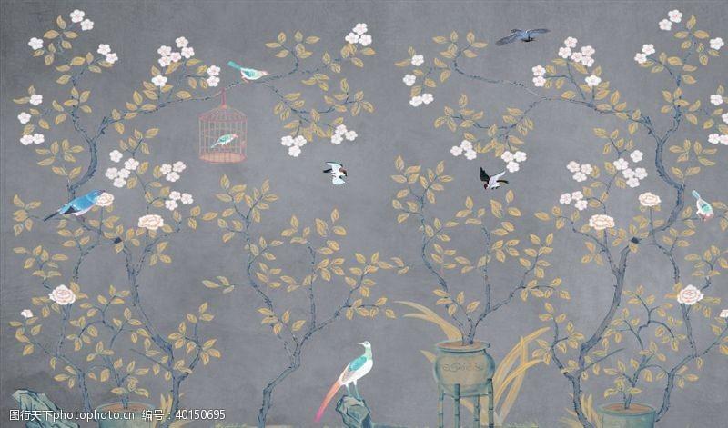 手绘画鸟鸟笼背景墙图片