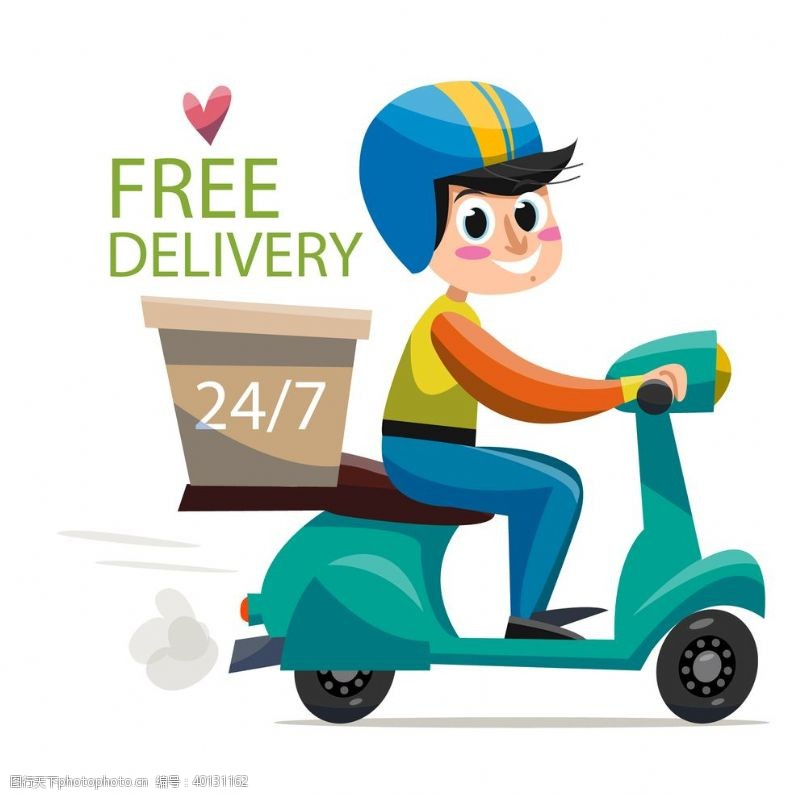 骑行外卖骑手送餐快递员图片