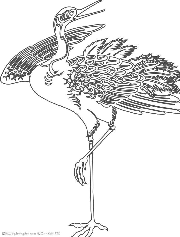 白描仙鹤图片