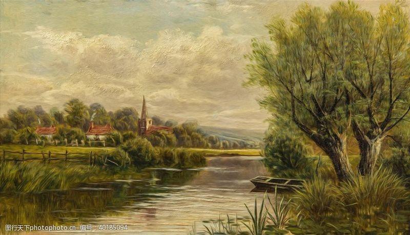 油画艺术小河图片