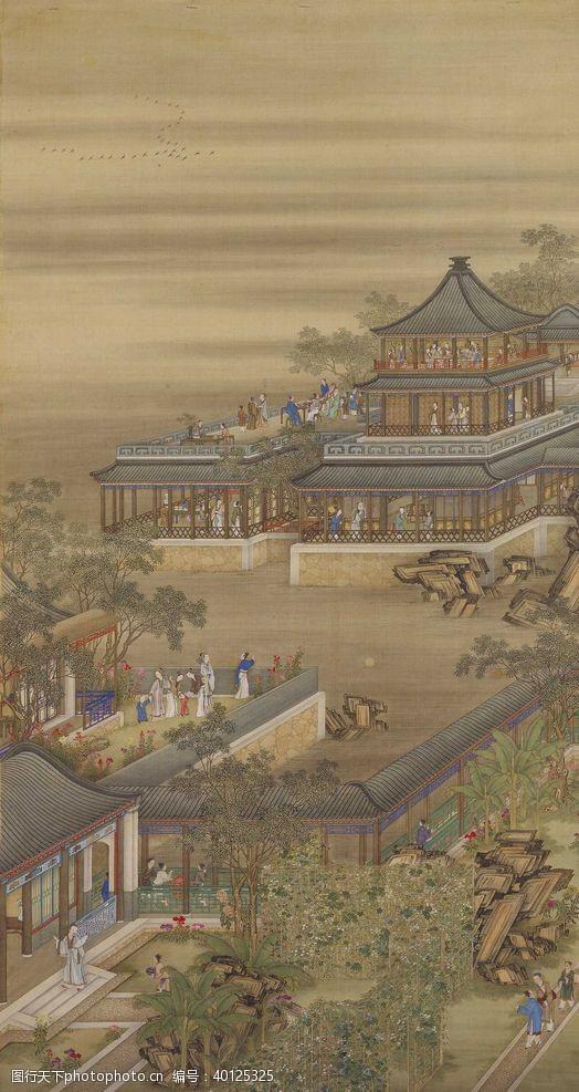 雍正十二月行乐图八月赏月图片