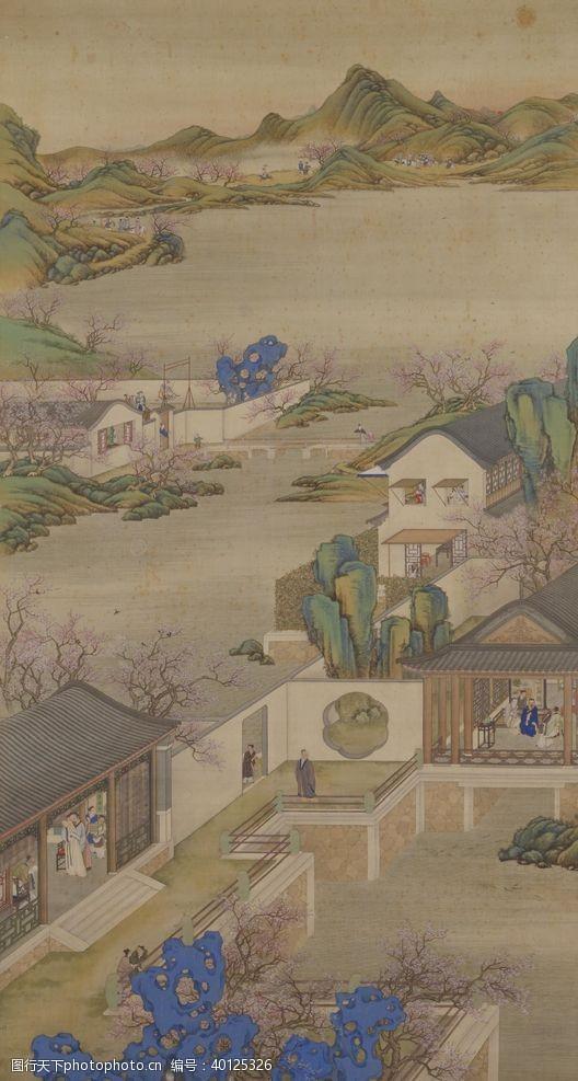 八月雍正十二月行乐图二月踏青图片
