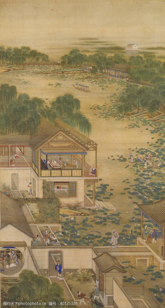 八月雍正十二月行乐图六月纳凉图片