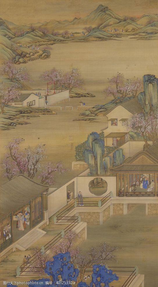 八月雍正十二月行乐图三月赏桃图片