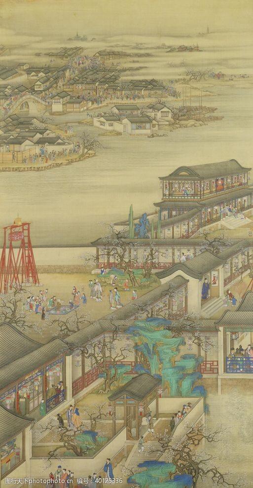 八月雍正十二月行乐图一月观灯图片