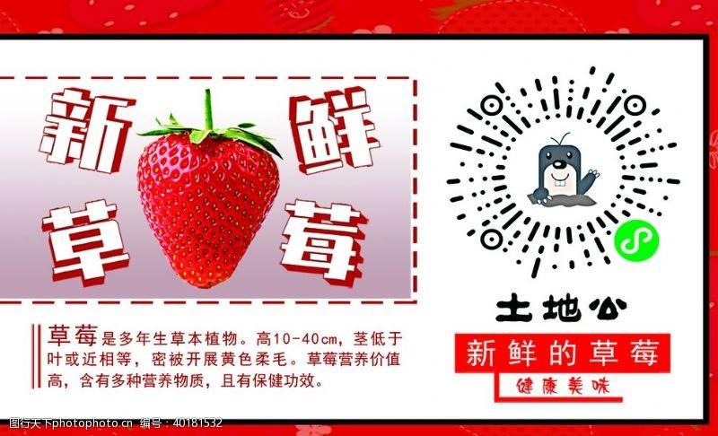 草莓不干胶土地公标签图片