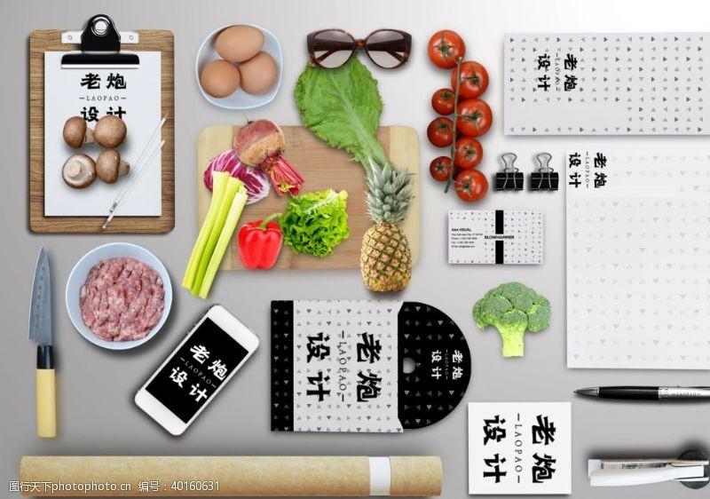 厨房用具厨房餐具蔬菜样机图片