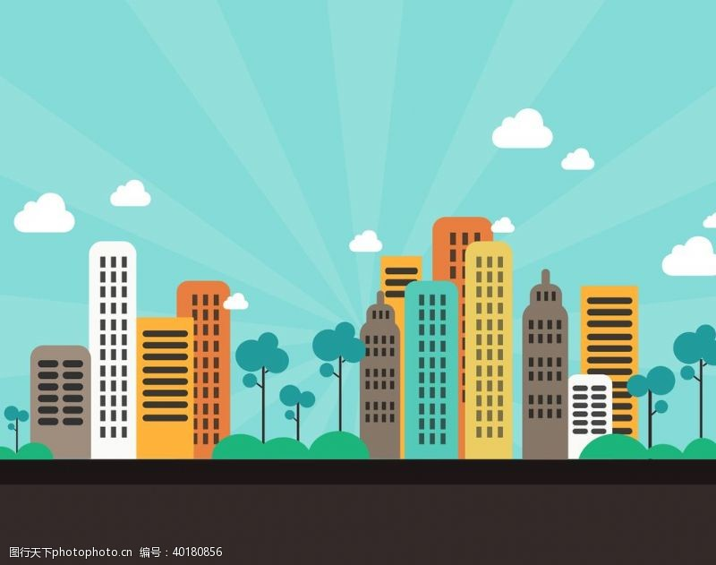 卡通房子卡通城市扁平城市白云树图片