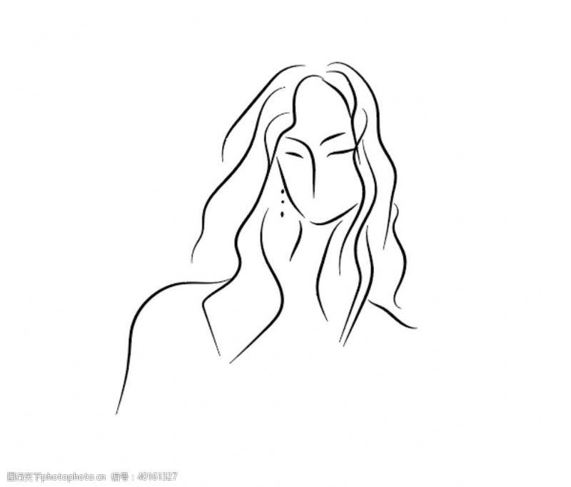 手绘画美女图片