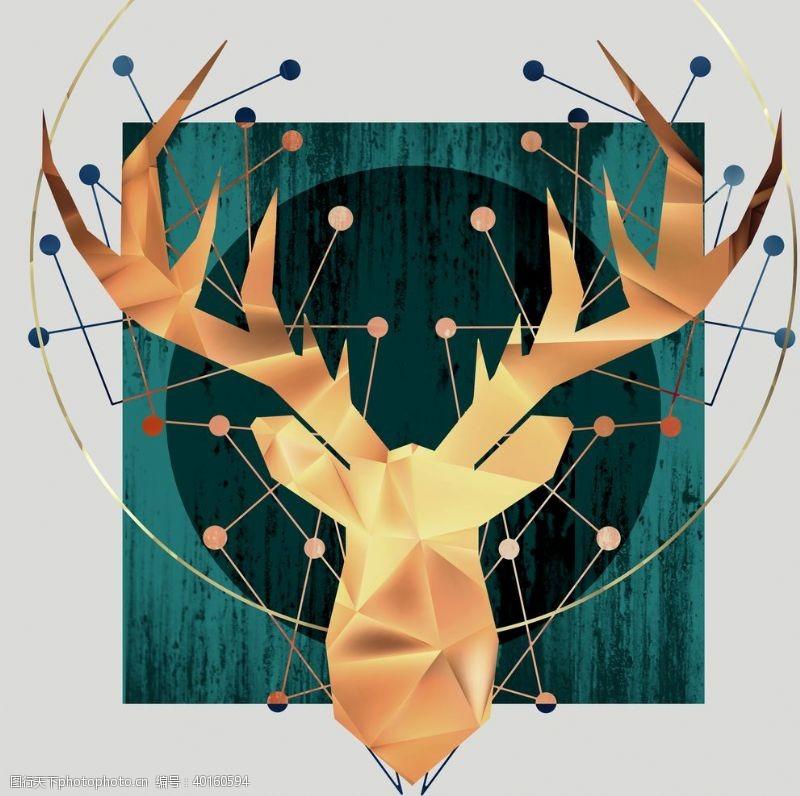 男装印花麋鹿抽象图片