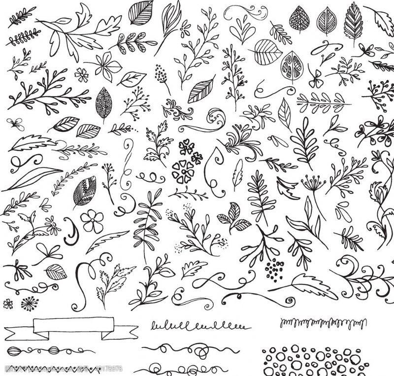 枝条手绘植物背景图片