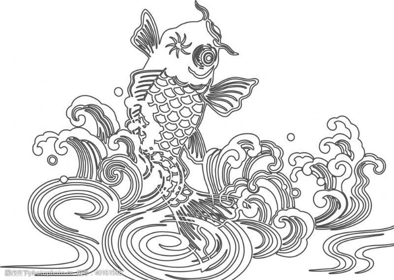 白描鱼跃龙门图片