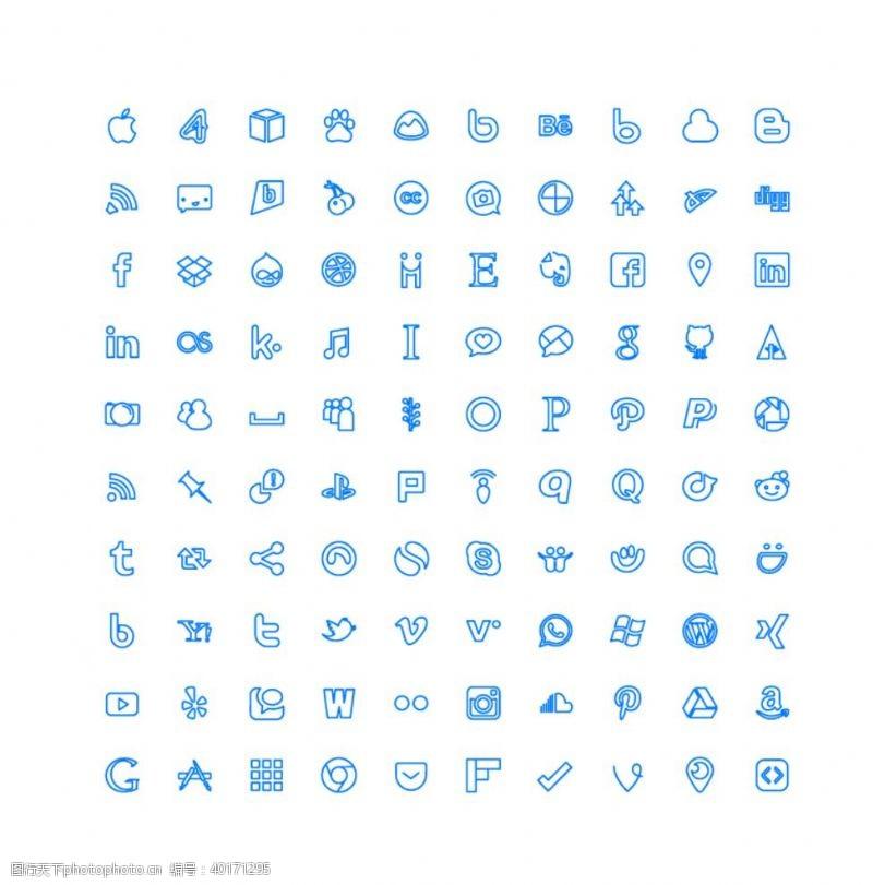 图标矢量图标100个社交媒体UI图标图片