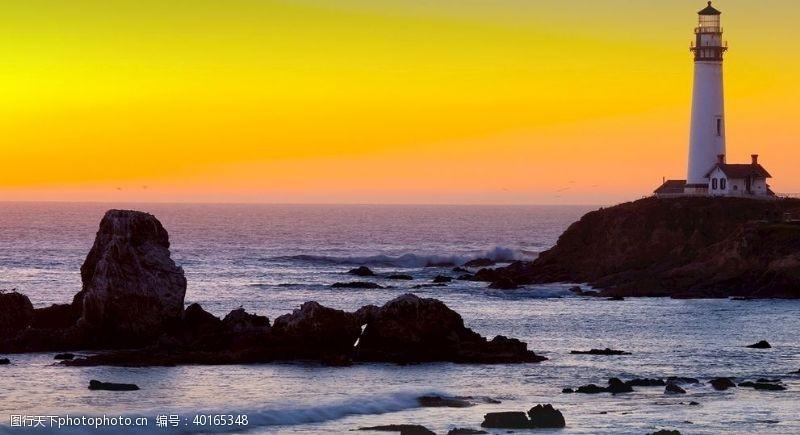 海滩灯塔岛屿图图片