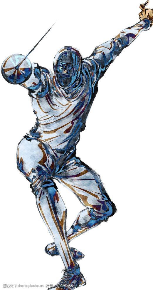 人物素材击剑运动图片