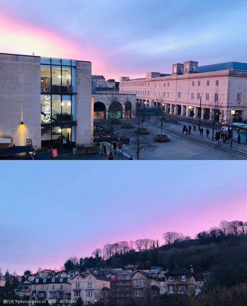 欧洲城市欧洲日落风景图图片