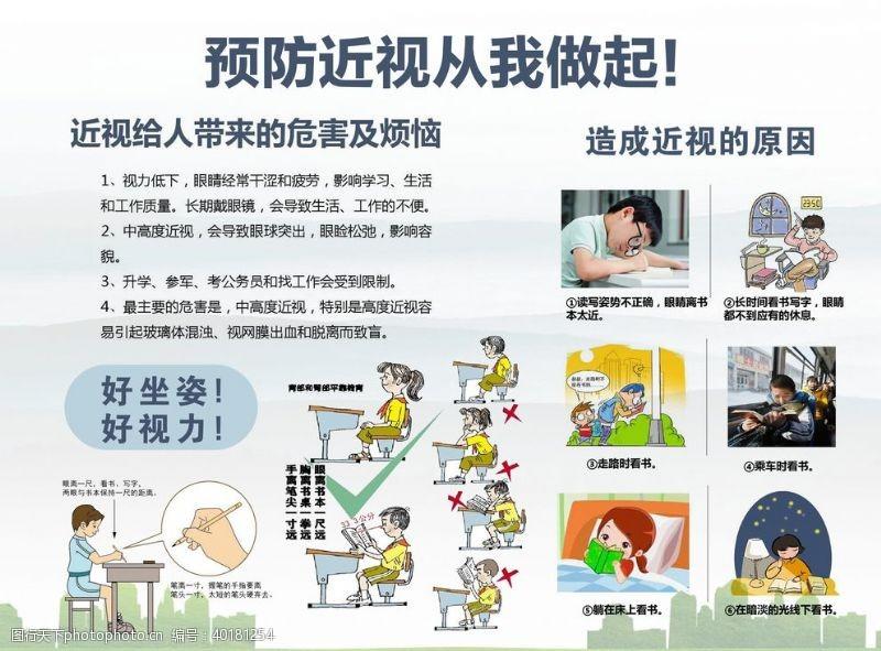 预防近视学校展板图片