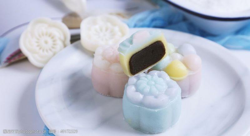 中秋可口的冰皮月饼图片