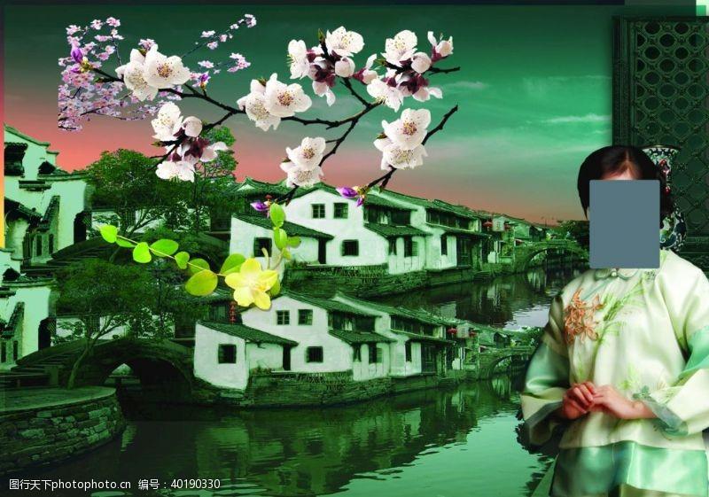 小河江南水乡图片