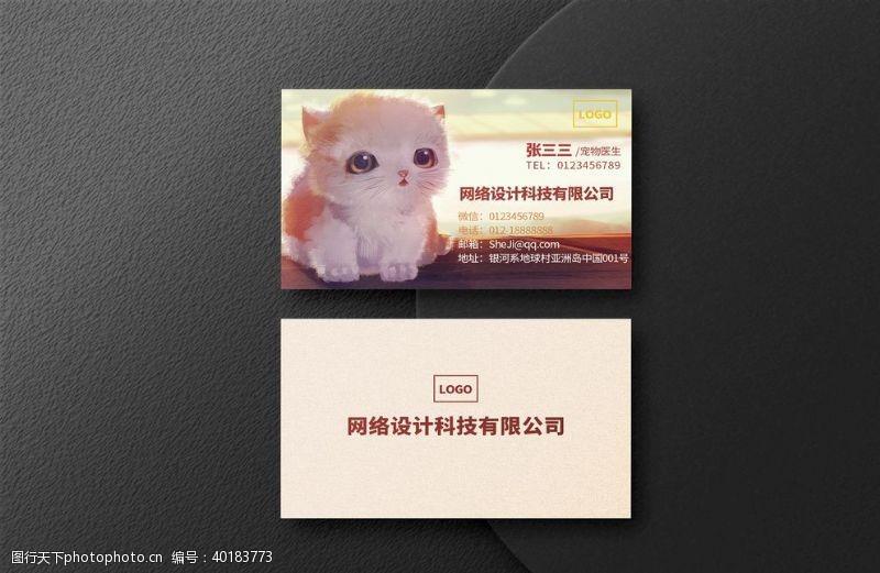 猫咪宠物商务名片图片